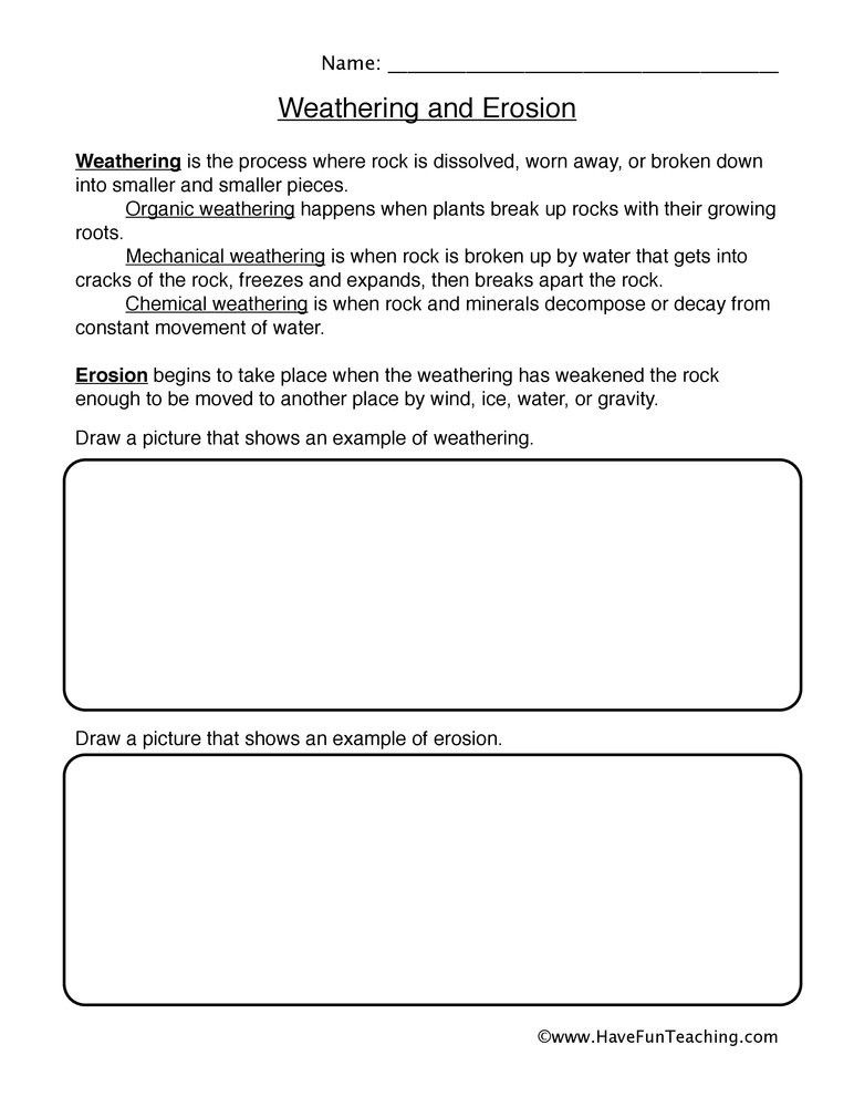 Erosion Worksheets 4th Grade Erosion Drawing Worksheet