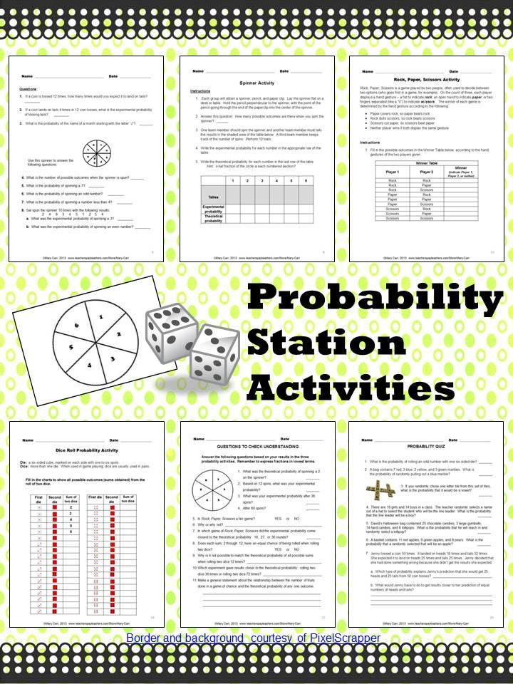 Experimental Probability Worksheet 7th Grade Probability Station Activities