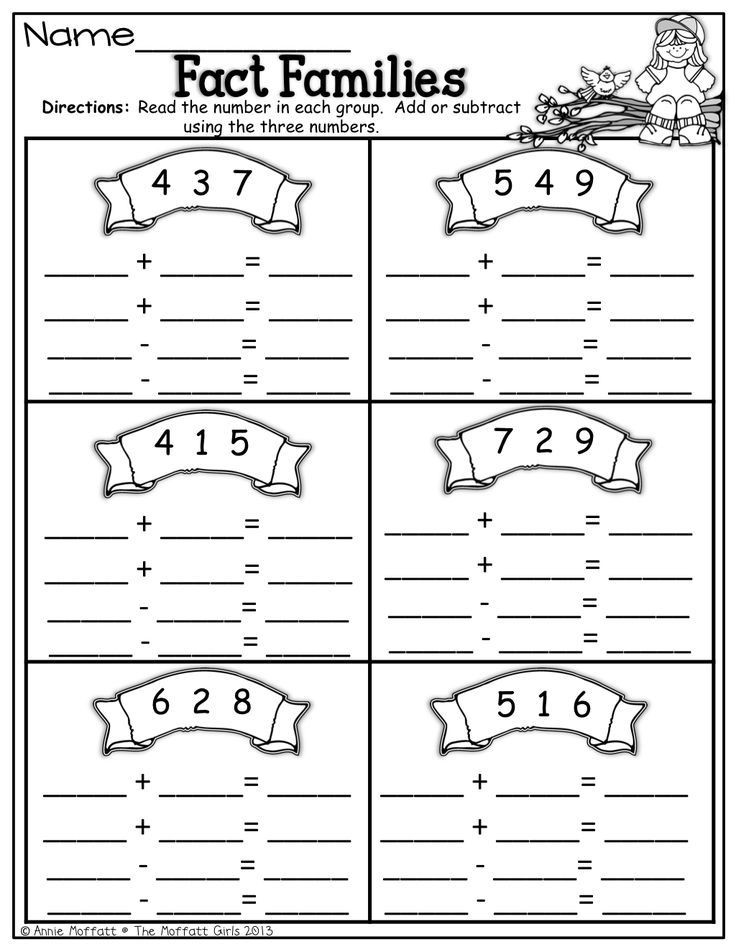 Fact Families Worksheets First Grade Fact Families