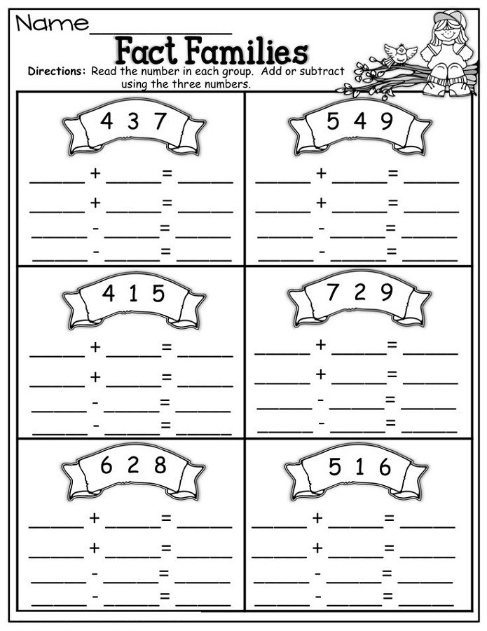 Fact Families Worksheets First Grade Fact Families Worksheets First Grade