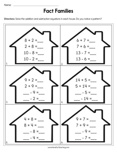Fact Families Worksheets First Grade Fact Families Worksheets • Have Fun Teaching