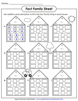 Fact Families Worksheets First Grade Fact Family Worksheets Addition and Subtraction