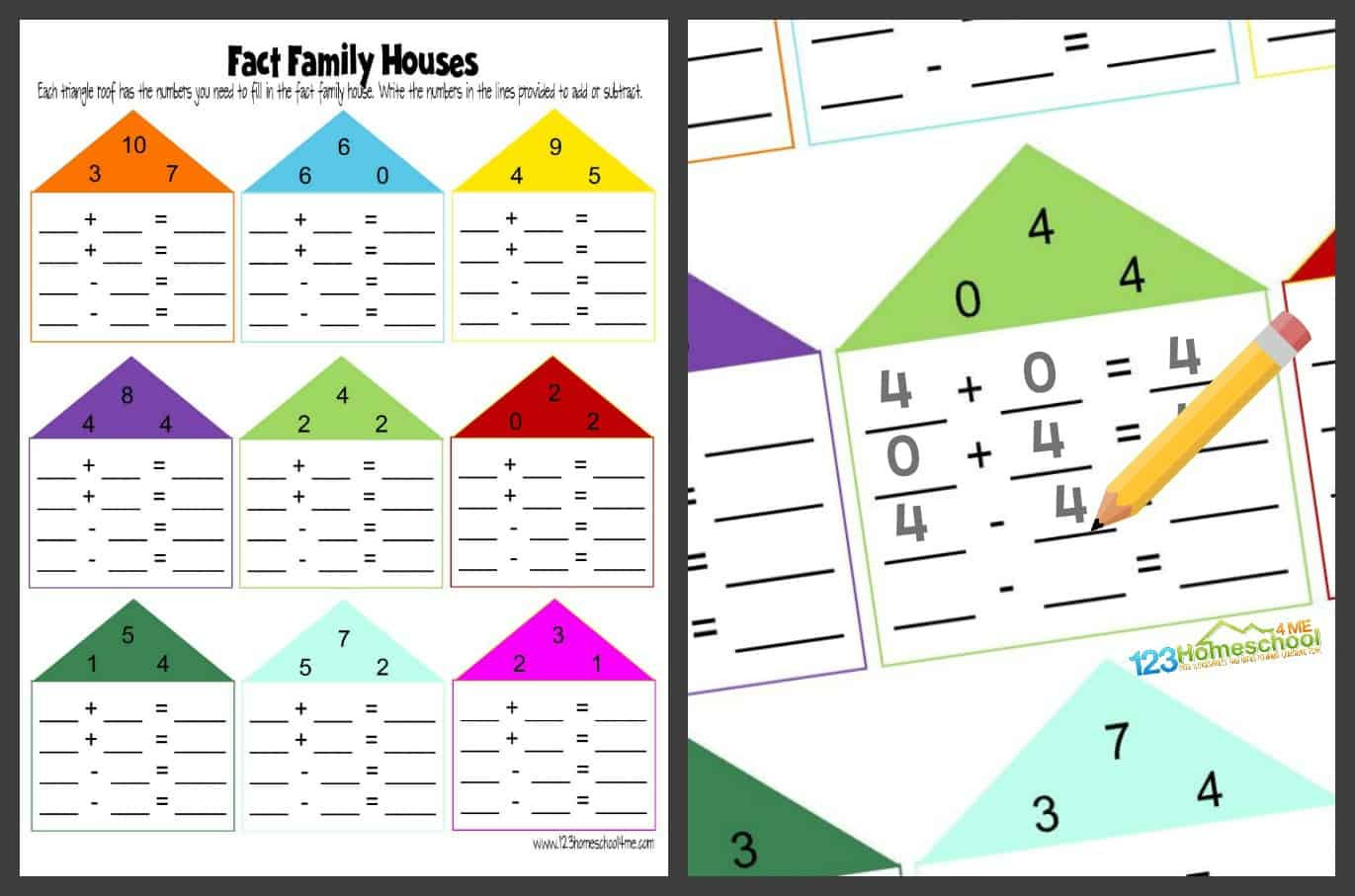 Fact Families Worksheets First Grade Free Fact Family Worksheets