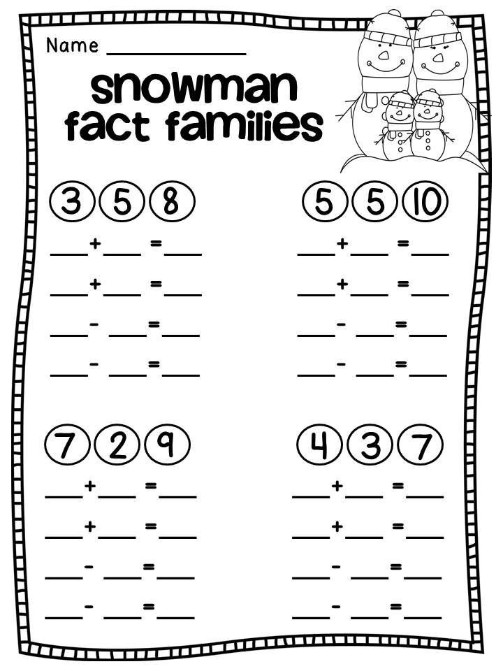 Fact Families Worksheets First Grade Math Worksheets Fact Families