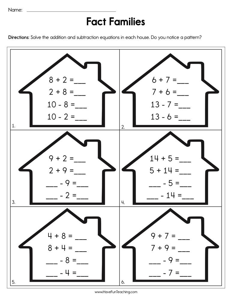 Fact Families Worksheets First Grade Pleting Fact Families Worksheet