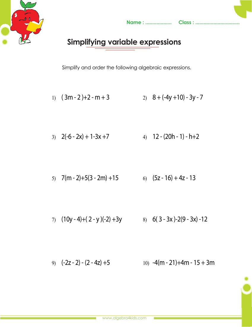 Factoring Expressions Worksheet 7th Grade Factoring Polynomials Worksheets with Answers and Operations