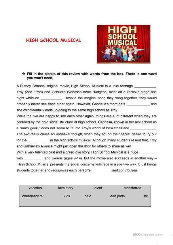 Film Analysis Worksheet High School High School Musical Review English Esl Worksheets for