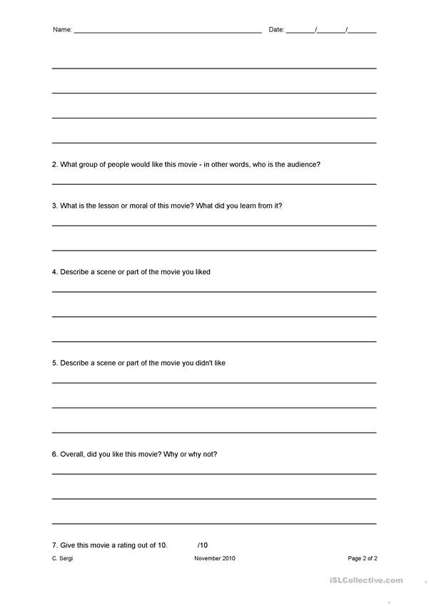 Film Analysis Worksheet High School Movie Review Worksheet English Esl Worksheets for Distance