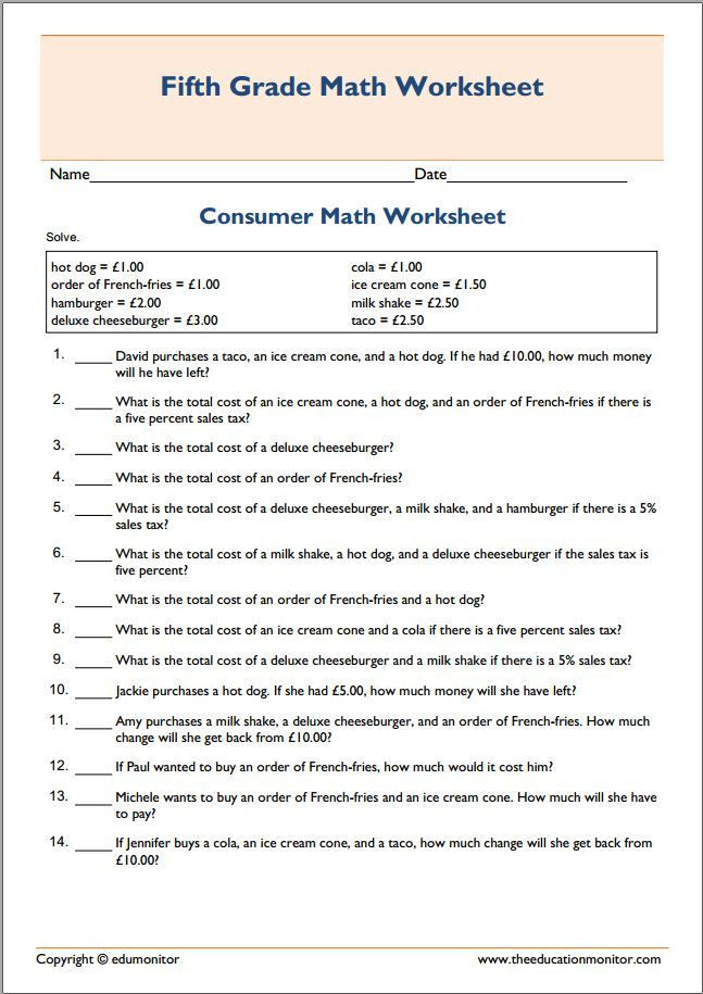 Financial Math Worksheets High School Basic Printable Consumer Math Worksheet Free Worksheets for