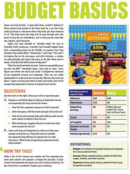Financial Math Worksheets High School Bud Basics Worksheet
