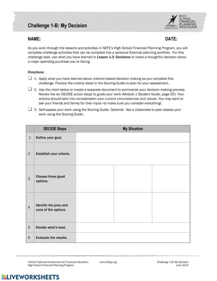 Financial Math Worksheets High School Challenge Interactive Worksheet Financial Literacy