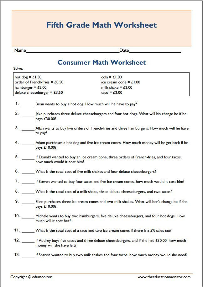 Financial Math Worksheets High School Spending Money Consumer Math Worksheet Free Worksheets for