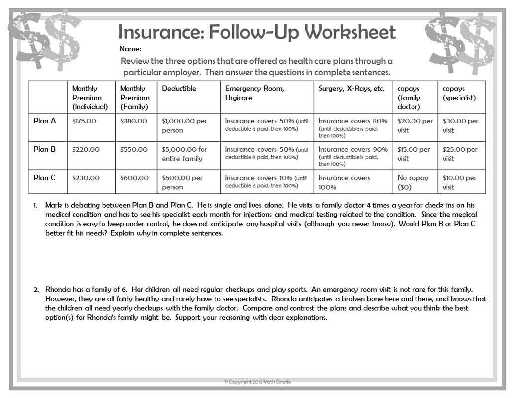 Financial Math Worksheets High School Teaching Personal Finance to Teens Financial Math Worksheets