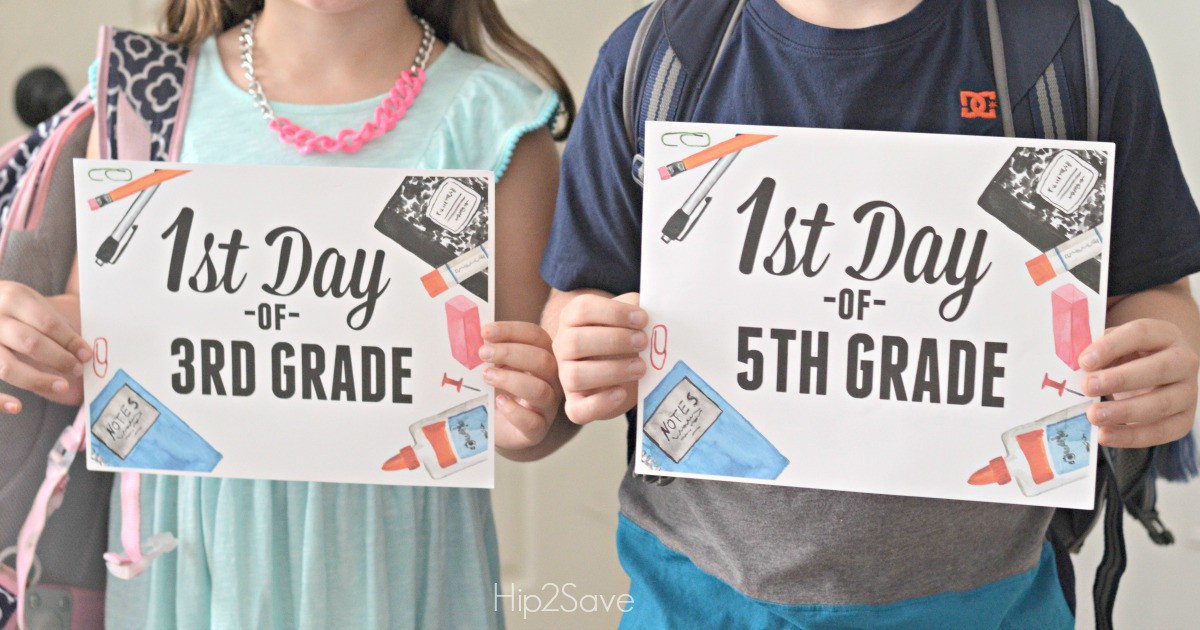 free printable first day of school signs hip2save