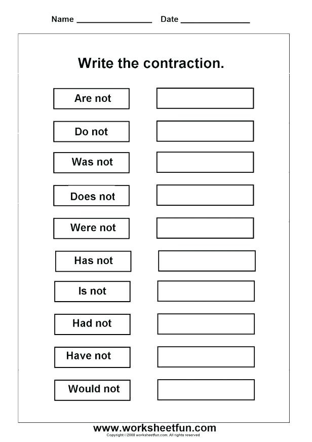 First Grade Contraction Worksheets 38 Contractions Worksheets for Improving Your Grammar