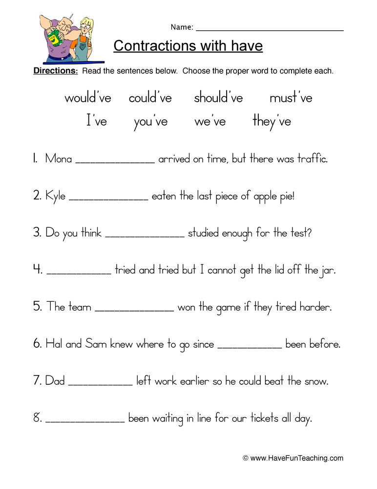 First Grade Contraction Worksheets Have Contractions Worksheet