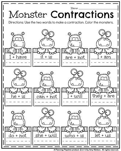 First Grade Contraction Worksheets October First Grade Worksheets Planning Playtime