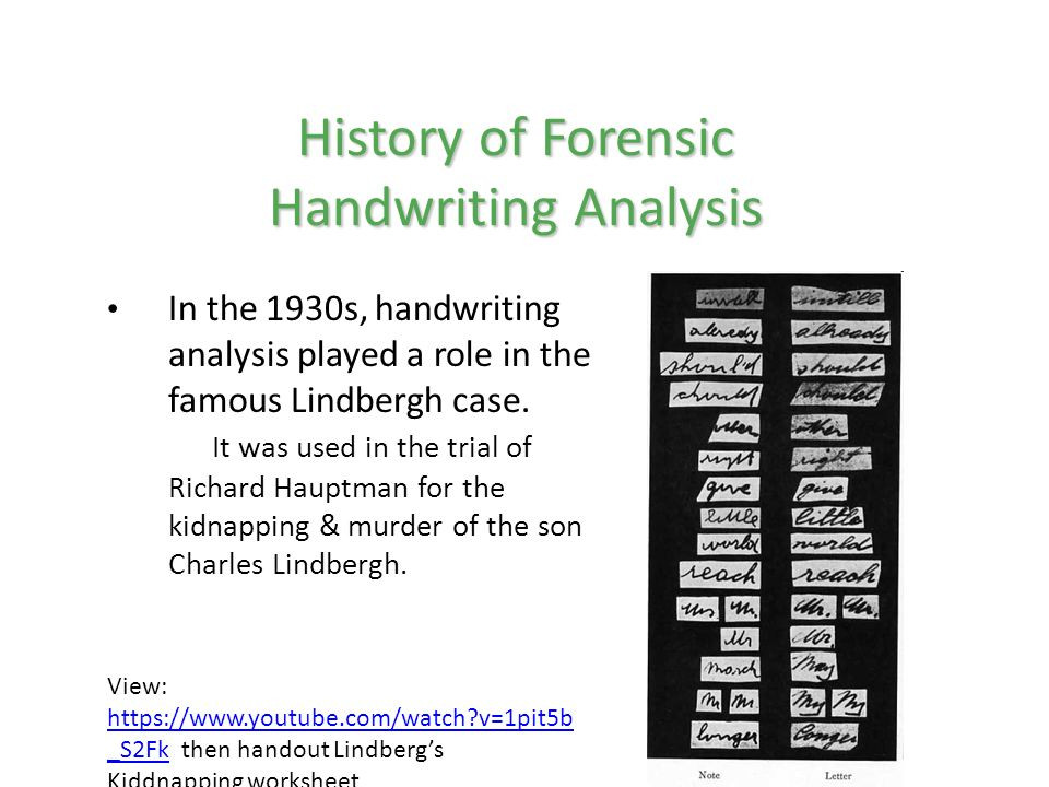 Forensic Handwriting Analysis Worksheet Handwriting Analysis Ehs forensic Science Video Links