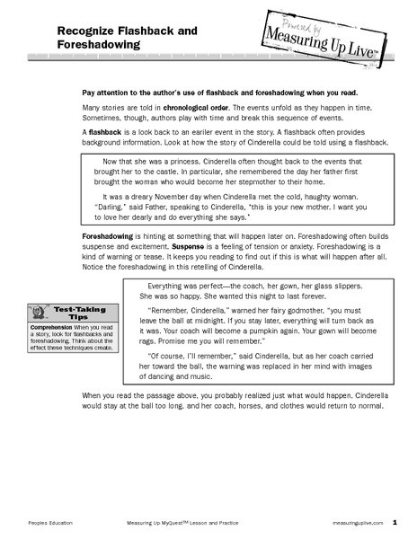 Foreshadowing Worksheets 5th Grade foreshadowing and Flashback Lesson Plans & Worksheets