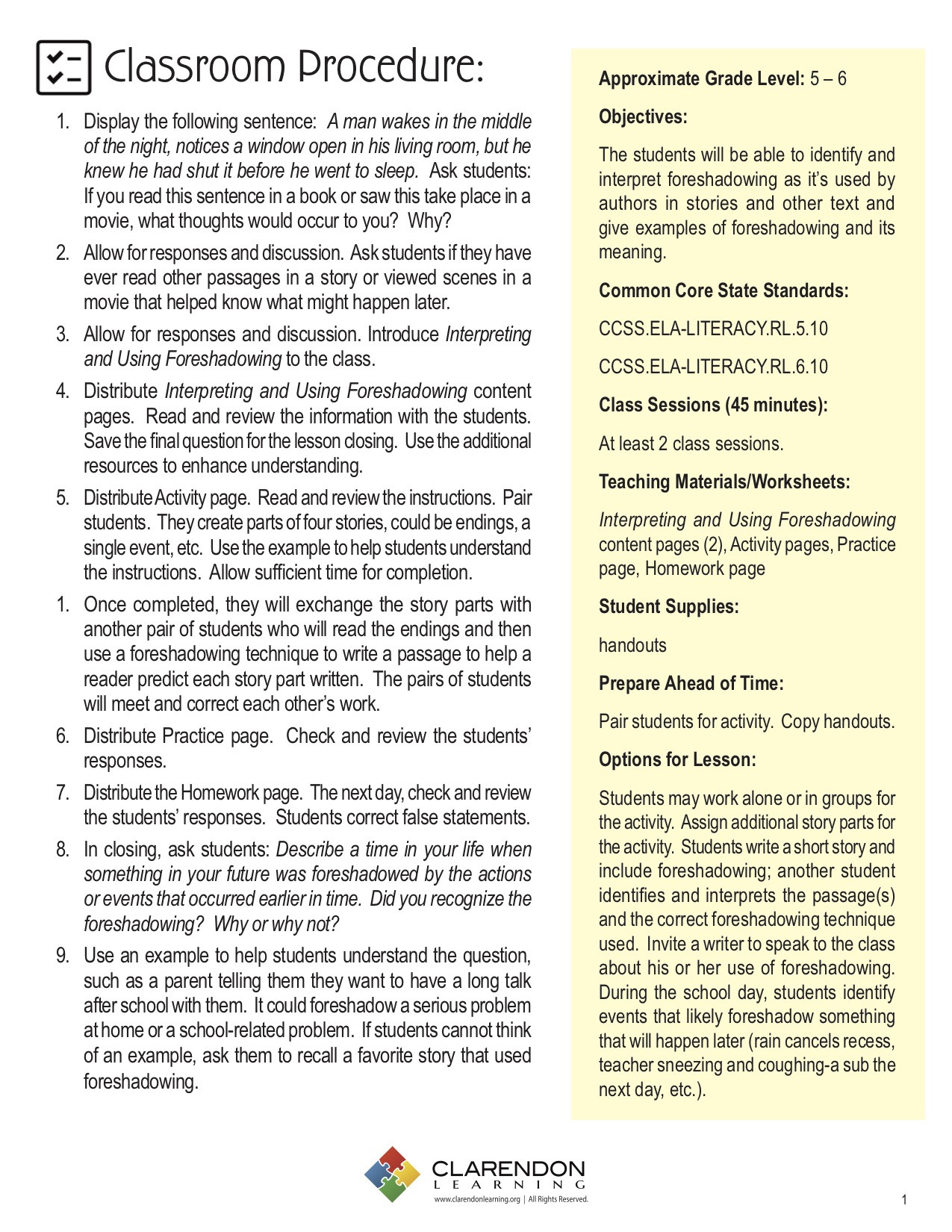 Foreshadowing Worksheets 5th Grade Interpreting and Using foreshadowing Lesson Plan
