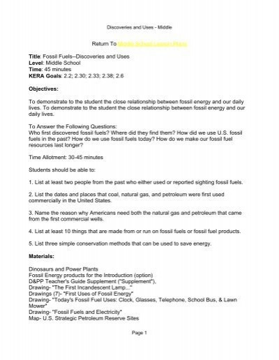 Fossil Fuels Worksheet High School Middle School Lesson Plans Title Fossil Fuels Kentucky