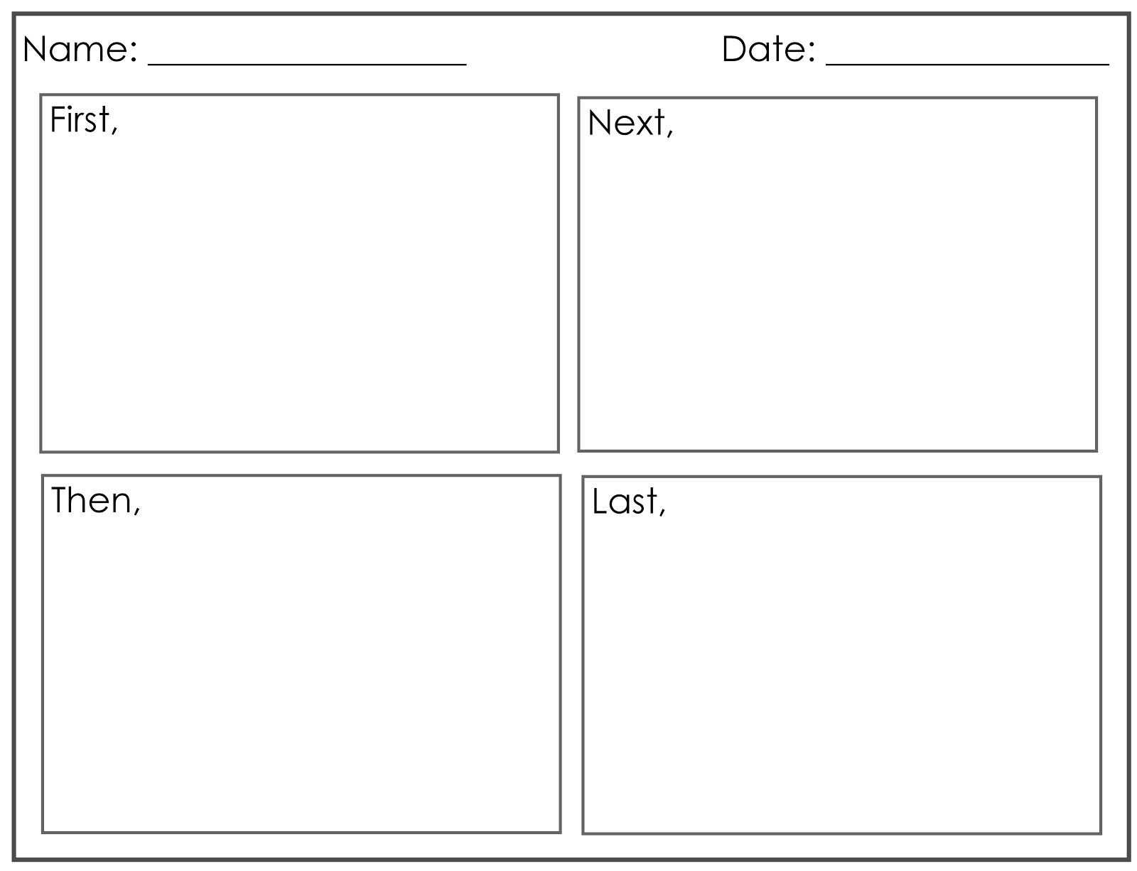 Four Square Writing Worksheet 4 Square Narrative Writing Template Second Grade