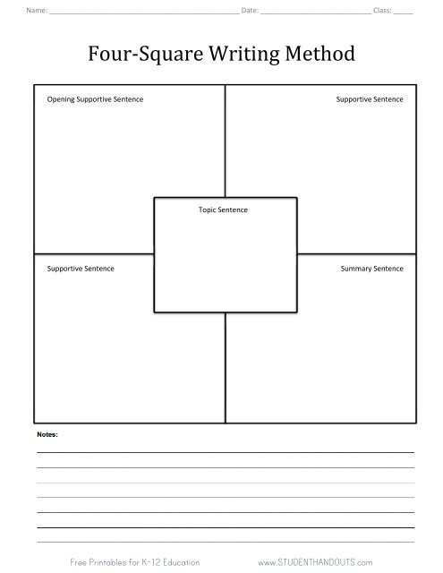 four square writing method worksheet