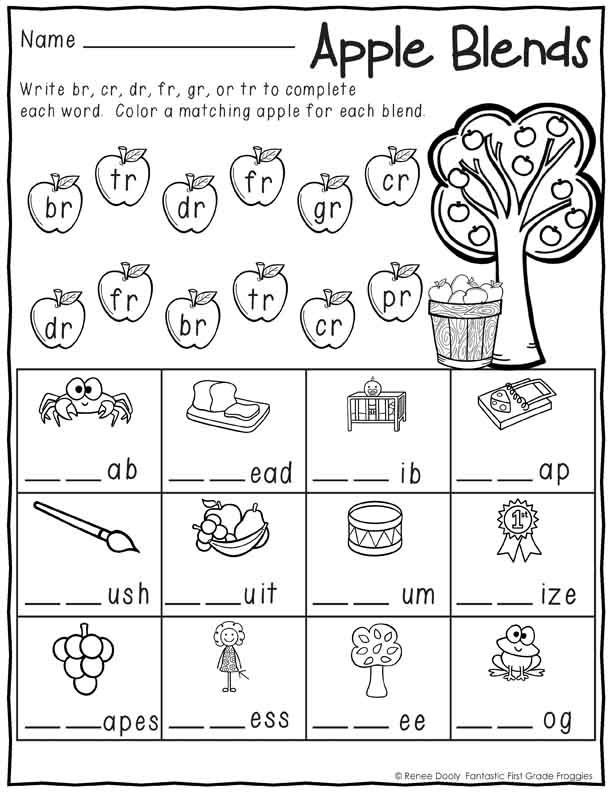 Free First Grade Phonics Worksheets September Print and Do Math and Literacy Printables Apple