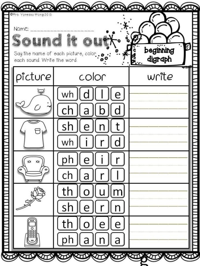 Free First Grade Phonics Worksheets Winter Math and Literacy No Prep Printables First Grade