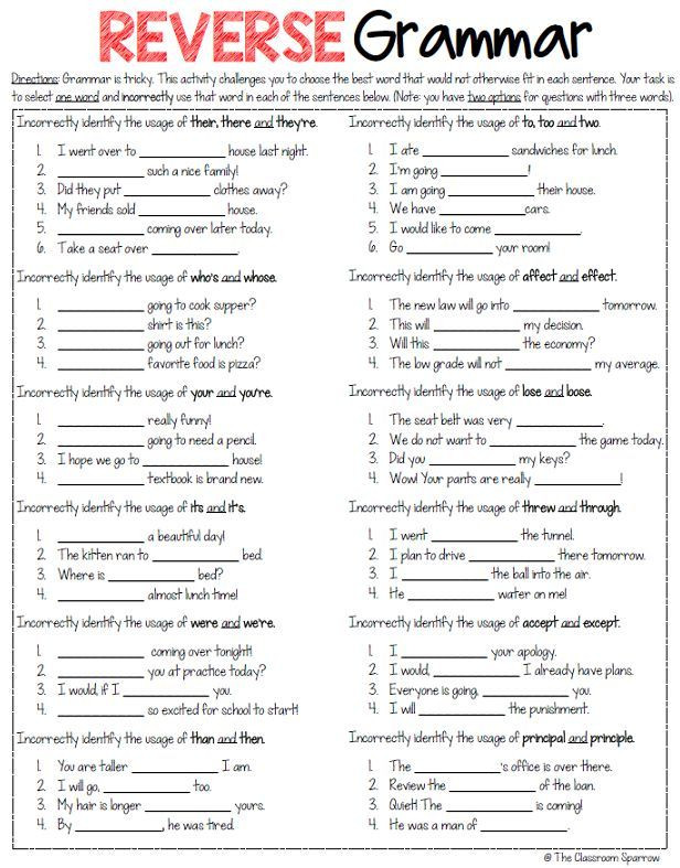 Free Grammar Worksheets High School Free Reverse Grammar Worksheet