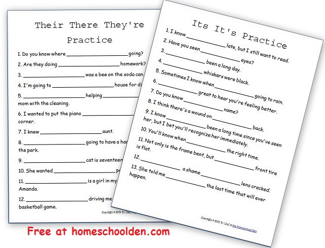 Free High School Grammar Worksheets their they Re there Its It S Free Practice Sheets