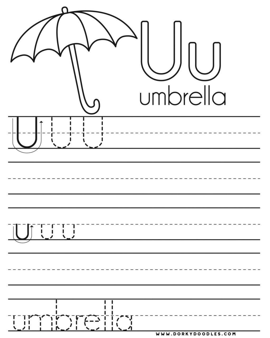 practice writing letters printablerksheets letter u and coloring page dorky doodles free 1024x1280