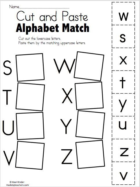 Free Printable Alphabet Matching Worksheets Alphabet Match S to Z – Free Worksheets Madebyteachers