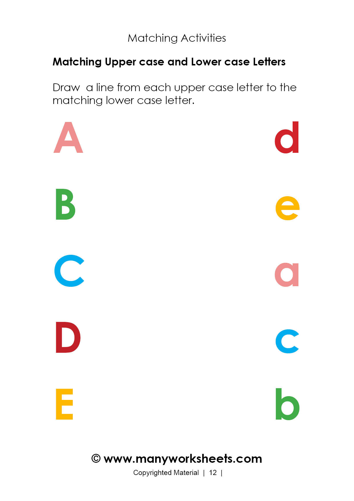 Free Printable Alphabet Matching Worksheets Math Worksheet Math Worksheet Christmas Matching