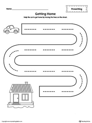 Free Printable Pre Writing Worksheets Street Line Tracing Prewriting Worksheet