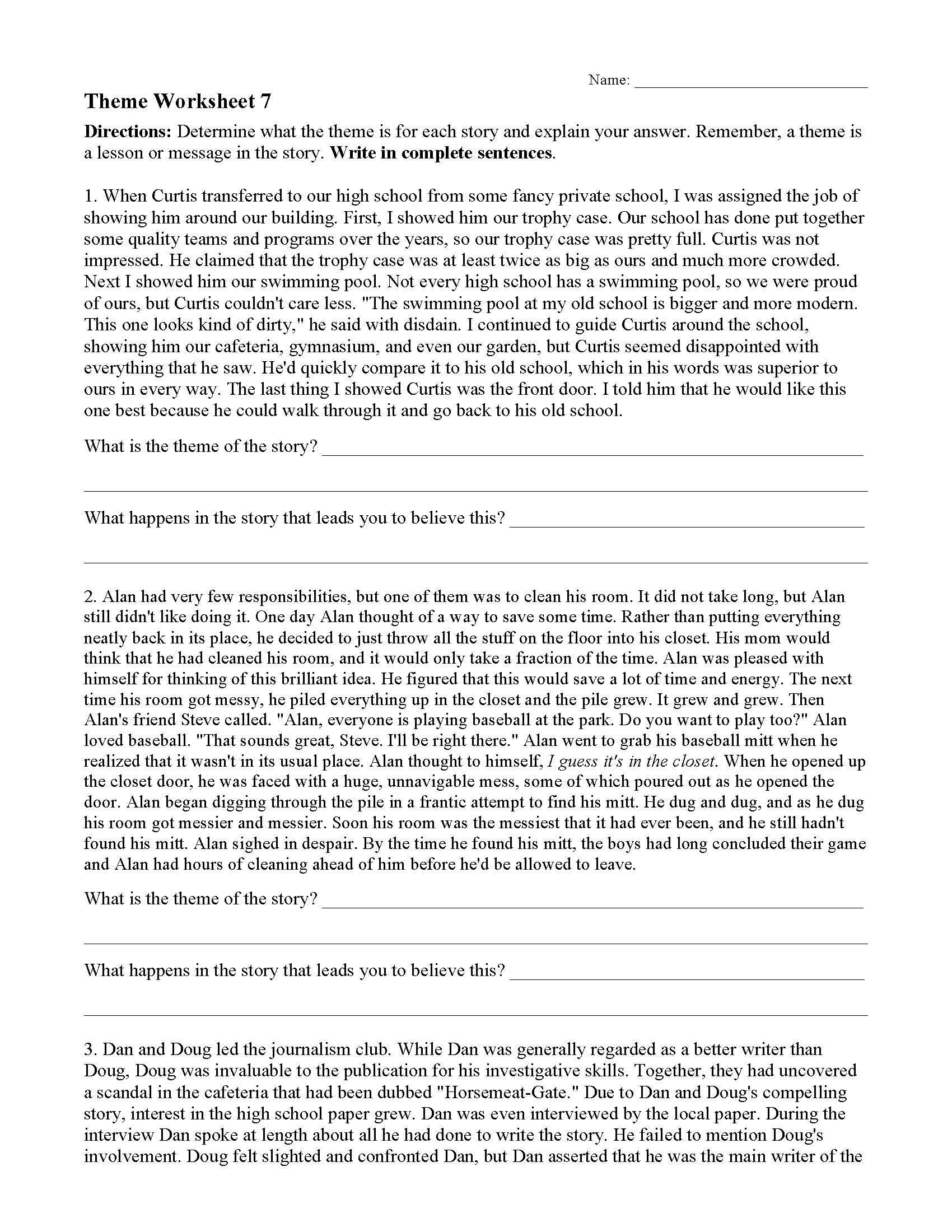 Genre Worksheets for 4th Grade theme or Author S Message Worksheets