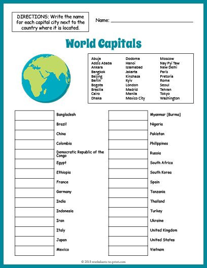 Geography Worksheets for High School Fun Printable Worksheet for Geography Students Features 30