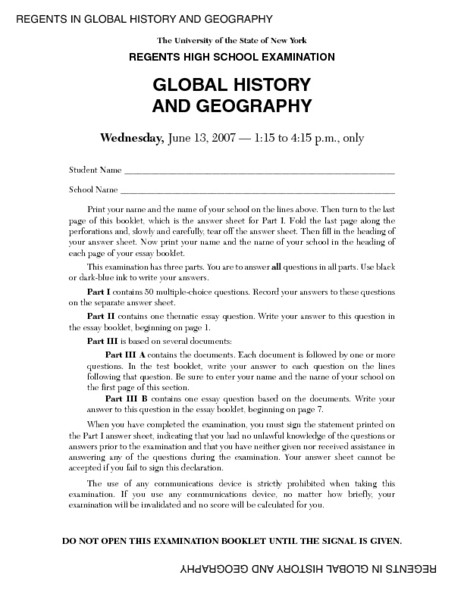 Geography Worksheets for High School Regents High School Examination Global History and