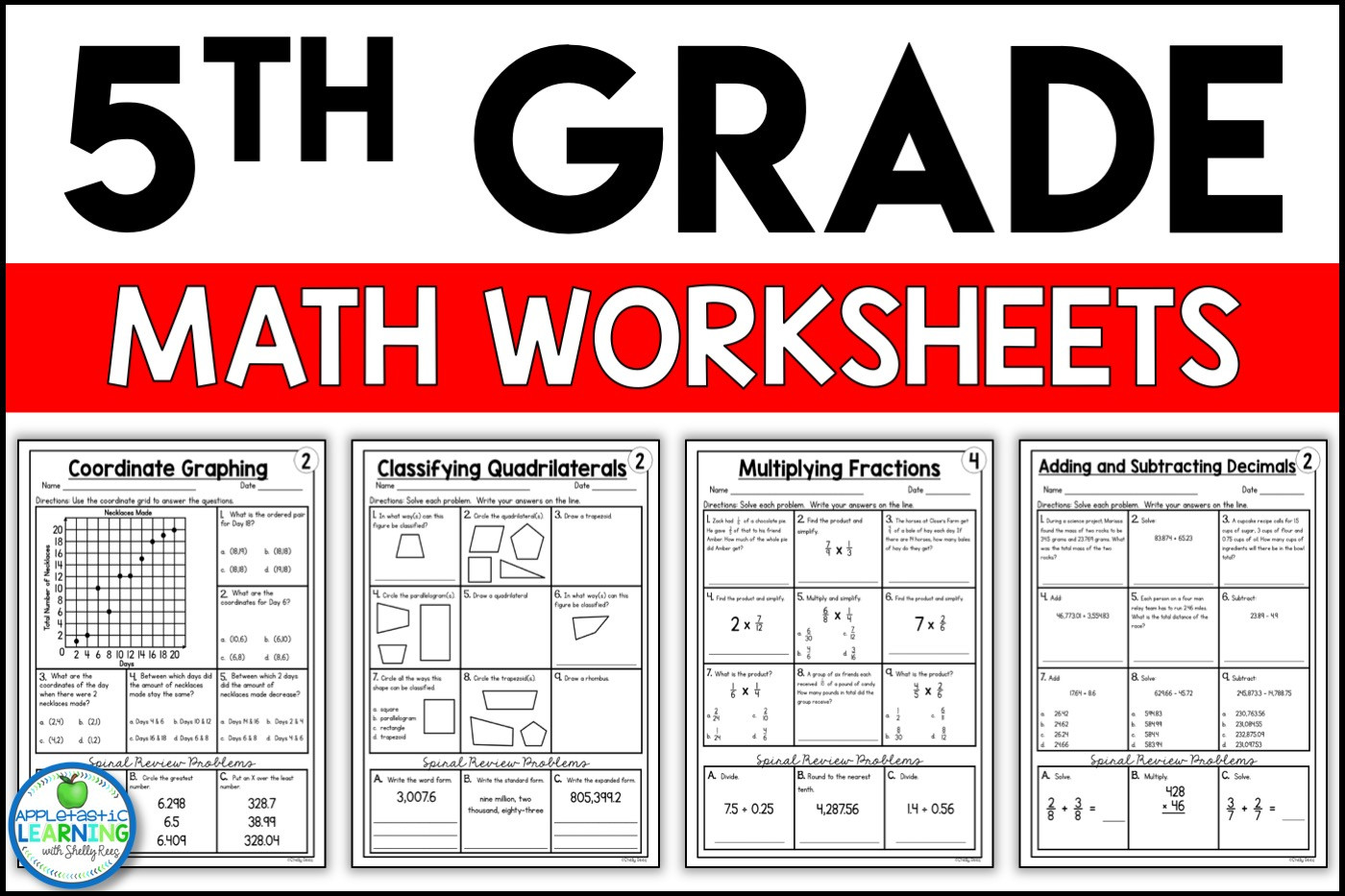 Go Math 5th Grade Worksheets 5th Grade Math Worksheets Free and Printable Appletastic