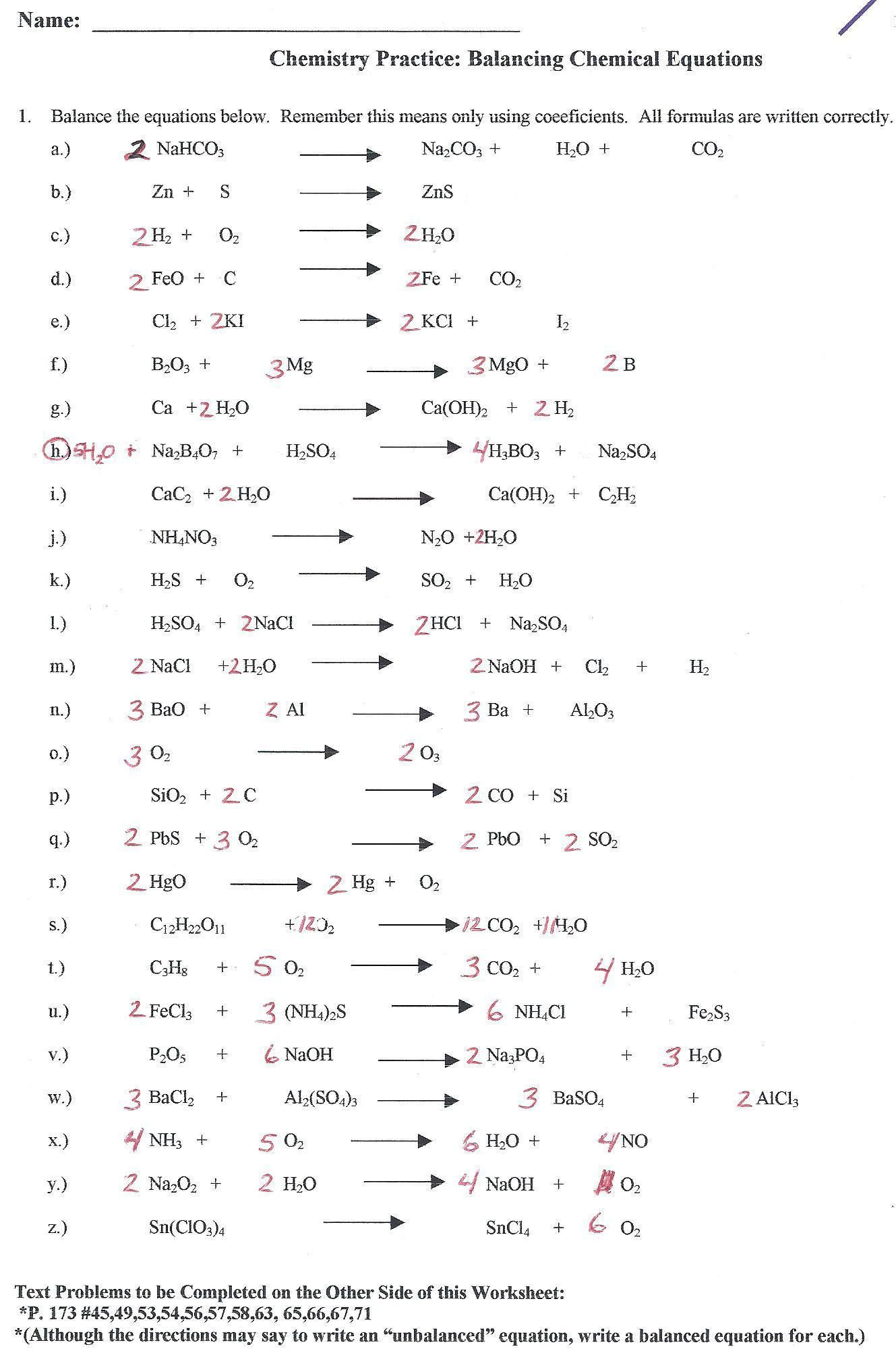 Grade 10 Chemistry Worksheets General Chemistry Worksheets and Answers