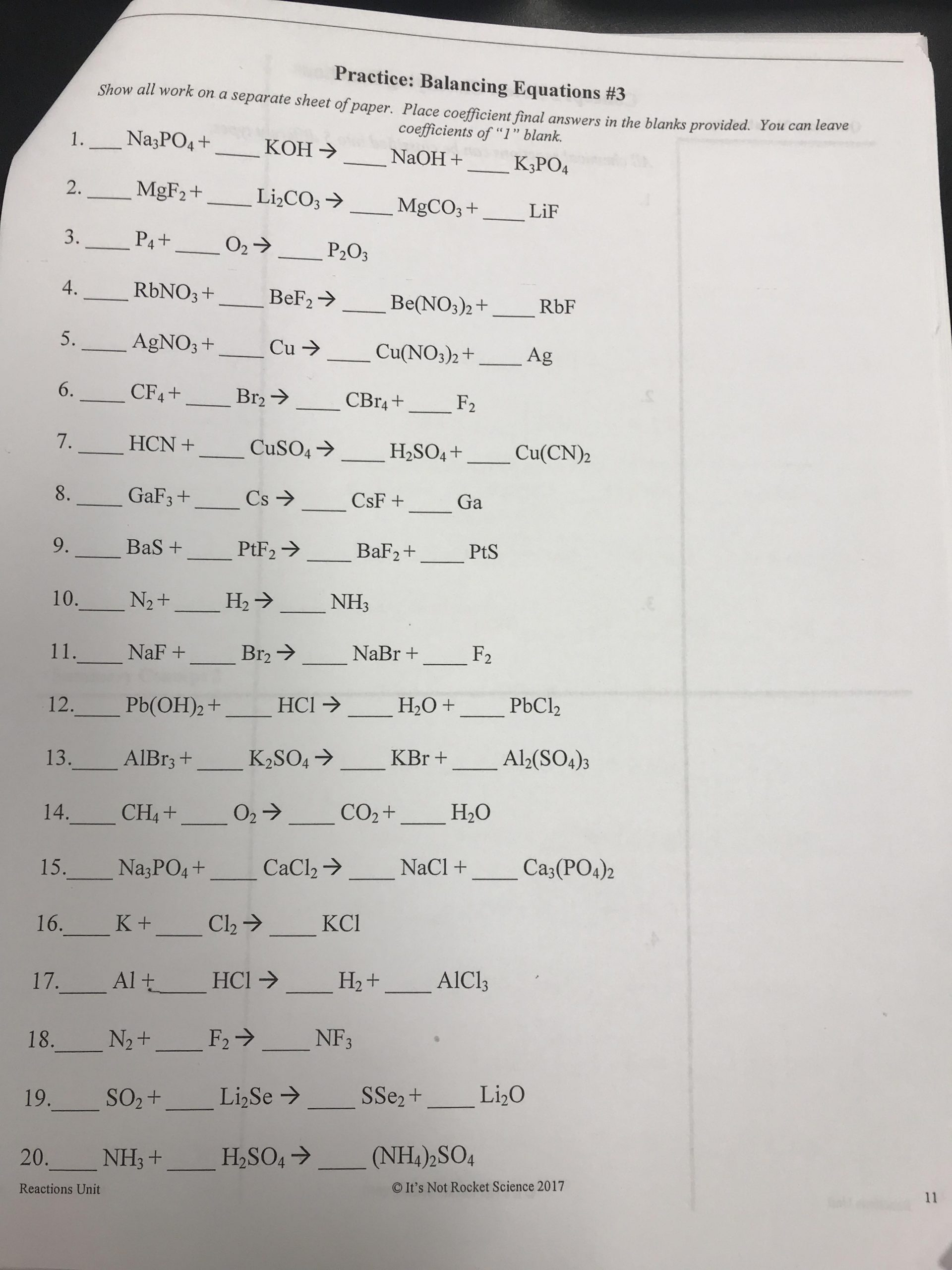 Grade 10 Chemistry Worksheets Grade 9 Physical Science Chemical Reactions] Balancing