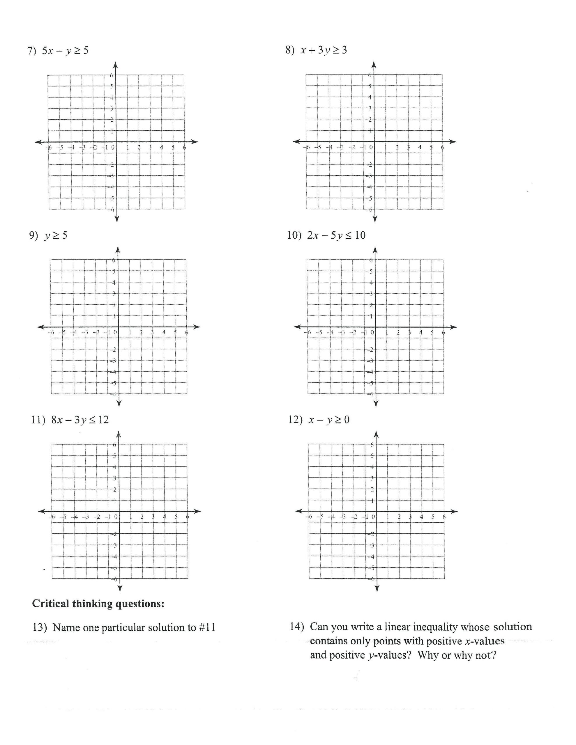 math graphing linear inequalities worksheets 10