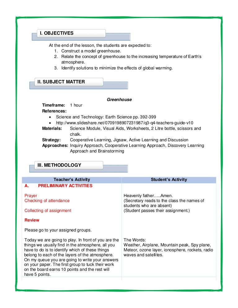 Greenhouse Effect Worksheet High School Detailed Lesson Plan In Science Vii Greenhouse