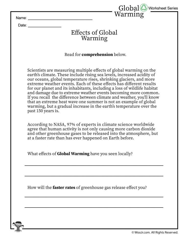 Greenhouse Effect Worksheet High School Global Warming Effects Printable Reading Worksheet