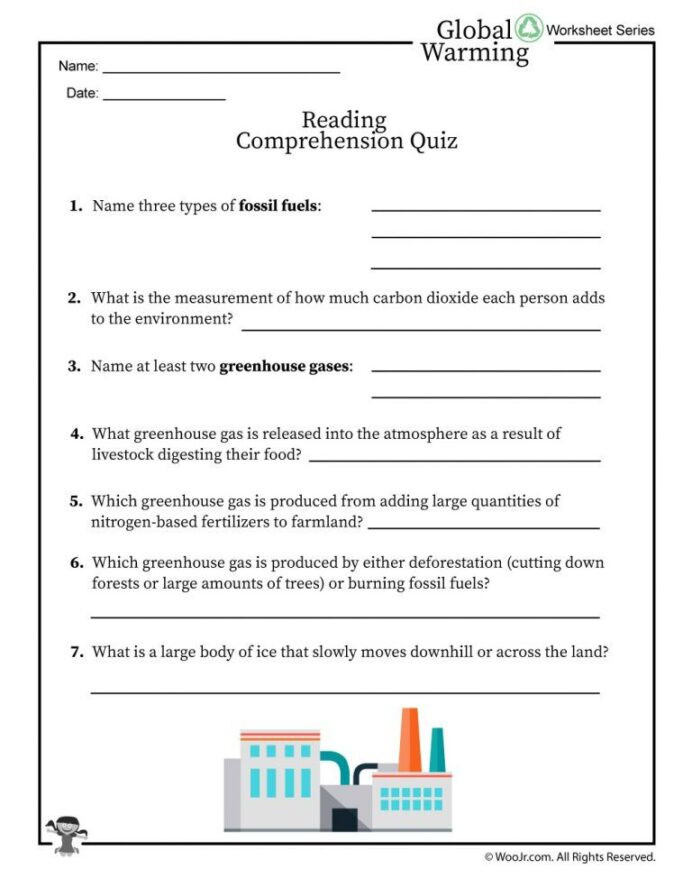 Greenhouse Effect Worksheet High School Global Warming Reading Prehension Quiz Woo Jr Kids