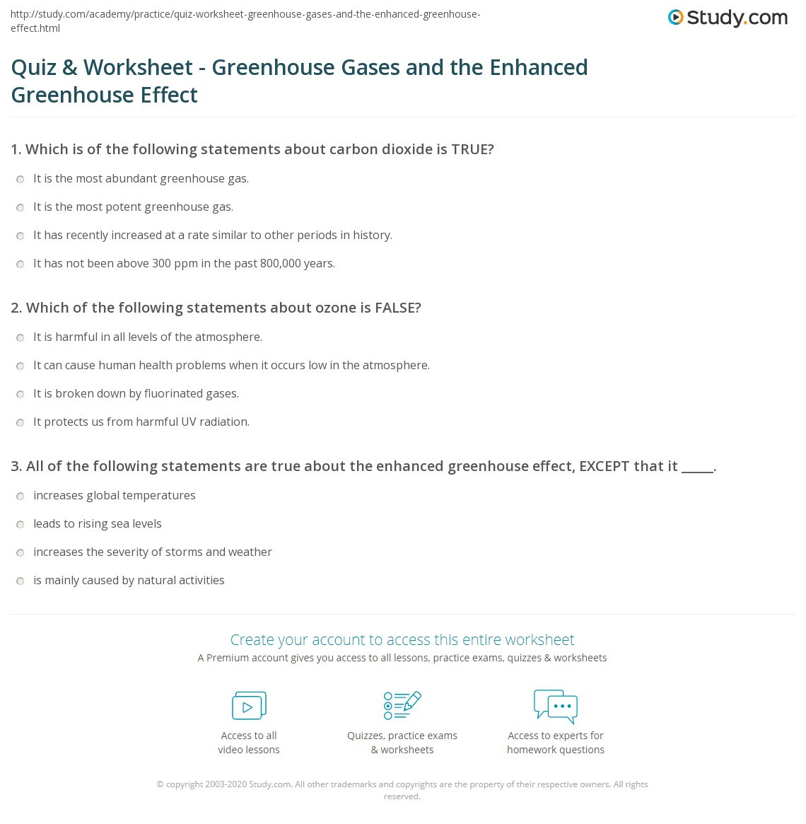 Greenhouse Effect Worksheet High School Quiz & Worksheet Greenhouse Gases and the Enhanced