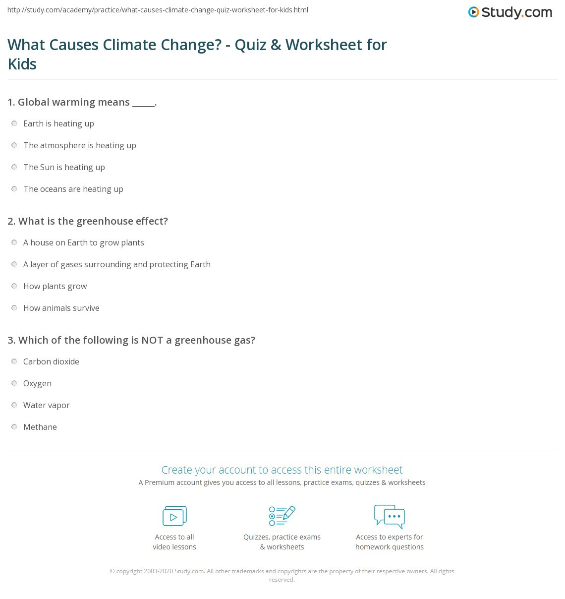 Greenhouse Effect Worksheet High School What Causes Climate Change Quiz & Worksheet for Kids