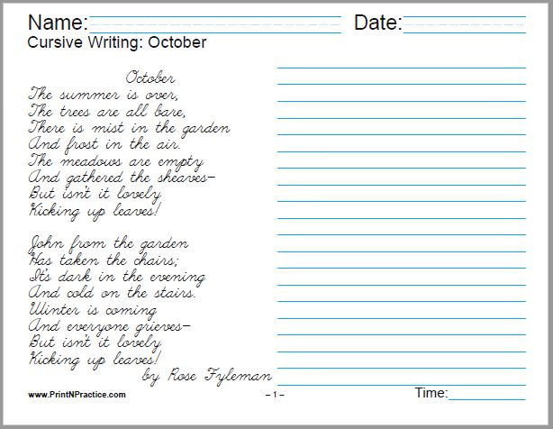 cursive worksheets for 5th grade writing october math free printable