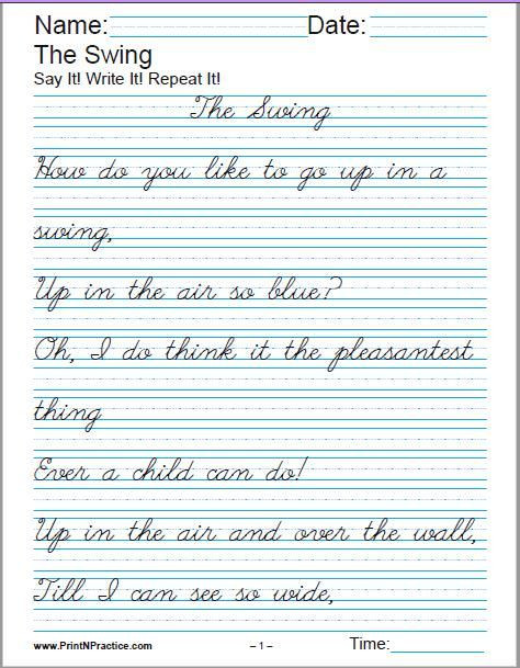Handwriting Worksheets for 5th Grade Printable Handwriting Worksheets ⭐ Manuscript and Cursive