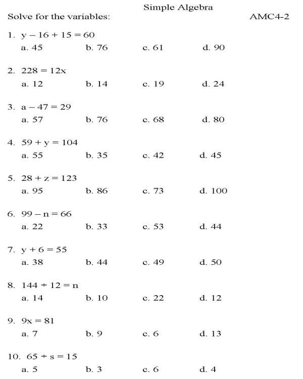 High School Algebra 2 Worksheets Bluebonkers Algebra Multiple Choice P2 Free Printable Math